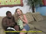 Teen deepthroats big black
