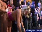 Horny babes next suck and jerk off strippers at hot cfnm party