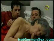German granny fucks 2 young studs