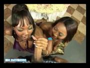 Two black chicks in a blowbang bukkake