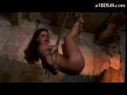 Hogtied Girl Hanging Clips To Her Body Pussy Pumped Fucked To Pussy And Mouth By Master In The Dunge