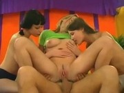 Three teens blowing and fucking old man