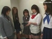 5 Schoolgirls In Uniform Pissing For Guy Jerking Off His Cock On The Floor