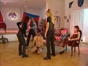 3 femdom leatherpants faceslapping a guy