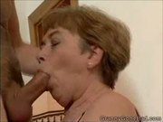 Granny sucking it and getting her tits fucked