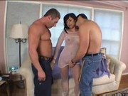 Two Cocks For Brunette Eve - Lips Toes And Hose