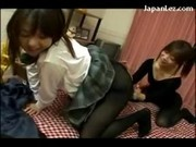 2 Schoolgirls In Black Pantyhoses Rubbing Licking Pussy On The Bed