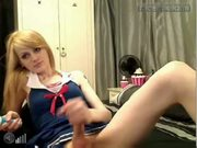 Crossdresser webcam jerking