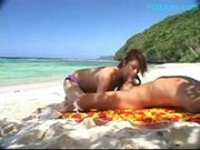 Busty Girl Sucking Cock Cum To Hands On The Beach