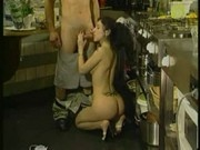french teenage babe fucking with her boyfriend in kitchen
