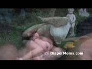Chunky diaper wearing boy hairless ass strapon fucked in the