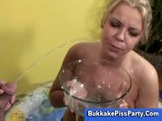 Blonde takes piss bath