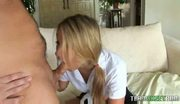 Hot blonde roxy chokes on a huge cock
