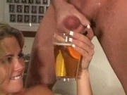 Sorority girl drinks beer and fucks frat