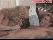 Two mature girls sucking and fucking lucky guy
