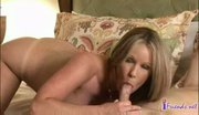 Hot blond sucks cock