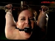 Girl Bending To Bench Spanked With Stick Getting Her Pussy Fucked Cum To Nose In The Dungeon