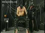 Dirty masked slave with metal clamps on her nipples got span