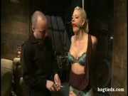 Hogtied busty blonde lingerie
