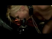 Blonde Girl With Collar Getting Her Mouth And Pussy Fucked With Strapon By Mistress