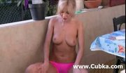 Blonde masturbation after morning