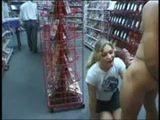 Sheryl giving blowjob in a shop at Look At Me Bitch
