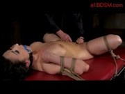 Busty Girl Bondaged Whipped Pussy Stimulated With Vibrator By Master In The Dungeon