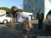 Blonde public blowjob