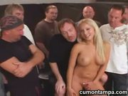 Blonde girl gangbanged