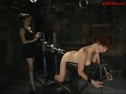 Redhead Girl Tied To Bench In Doggy Sucking Dildo While Fucked With Fucksaw By Mistress In The Dung