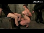 Busty Girl Blindfolded Moustraps On Nipples Rubbing Guy Cock With Tits Sucking While Spanked And Fin