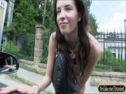 Hot european babe Elisabeth gets fucked and facialed outdoor