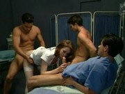 Nasty nurse Chloe is fucked by three men in this classic scene