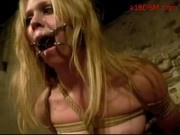 Bondaged Blonde Mouthgag Ass Spanked To Red By A Soldier In The Dungeon