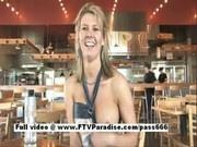 Blonde flashing boobs in public