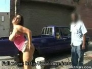 Out in public pornstar babe teases men