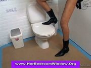 Glory hole toilet blowjob