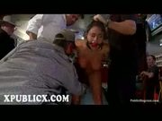 Chained and gagged brunette orgy spanked