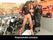 Reverse gangbang in leather