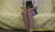 Valeria masturbates in violet pantyhose