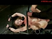Girl Tied To Bench With Legs Up Getting Asshole Fucked With Dildo Fingered By Master In The Dungeon
