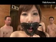 Busty Girl With Gag Getting Her Mouth Fucked Many Guys Cum To Mouth
