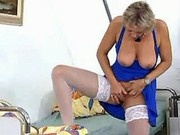 Blond granny's playing alone