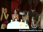 Next door girls from audience suck male strippers in public