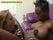 Interracial girl fucks girl