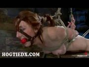 Bound gagged redhead babe gets toyed
