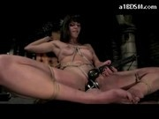 Girl Riding On Dildo Hanging On Rope Getting Tied To Chair Pussy Fingered And Plugged Masturbating W