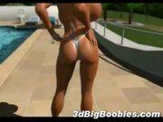 3d busty babe in bikini!