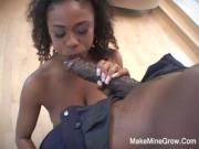 Hot Ebony Sucked A Two Huge Cock