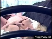 Pregnant blonde Renee Summers rides her big belly on top